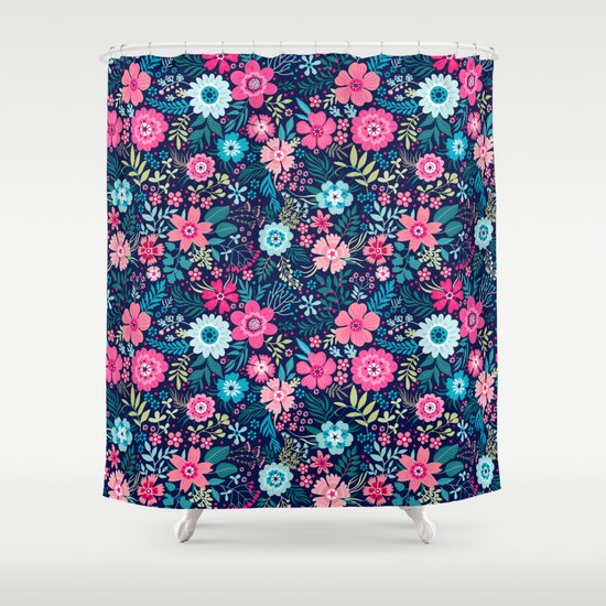 Amazing floral pattern with bright colorful flowerson a Colorful shower curtains
