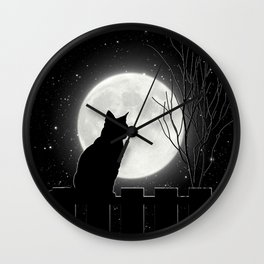 Silent Night Cat and full moon Wall Clock