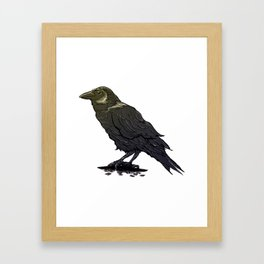 Crow Contemplation Framed Art Print