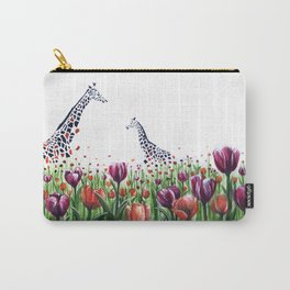 Giraffes in a field of Tulips Carry-All Pouch