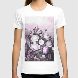 Pink Lavender Roses Gray Birds Temple of Flora T-shirt