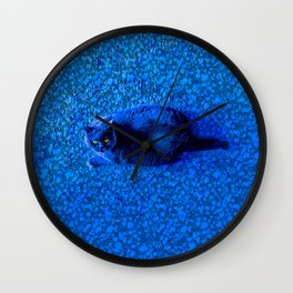 A Blue, Well-Fed Cat Wall Clock