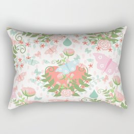Pastel coral pink green butterfly floral polka dots Rectangular Pillow