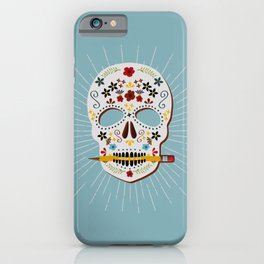 Write or Die Sugar Skull - Blue iPhone Case