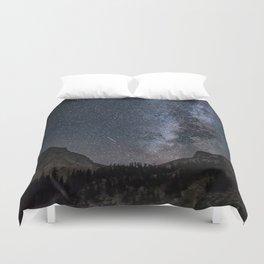 Perseid Over Sacagawea Peak Duvet Cover