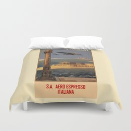 Italian vintage plane travel Brindisi Athens Istanbul Duvet Cover