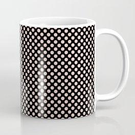 Black and Pale Dogwood Polka Dots Coffee Mug