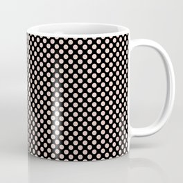 Black and Pale Dogwood Polka Dots Coffee Mug