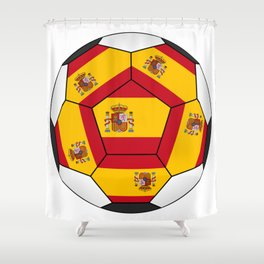 Soccer ball with Spanish flag Shower Curtain