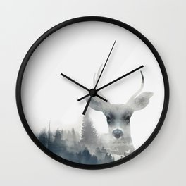 Fearless  winter deer Wall Clock