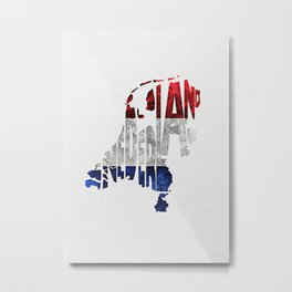The Netherlands / Nederland Typographic Flag Map Art Metal Print