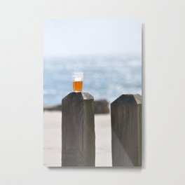 BEER DAY AT THE BEACH Metal Print