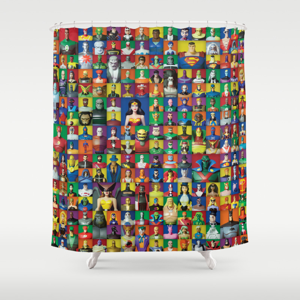 Action Figure Grid: Justice League Unlimited Shower Curtain by Cantinadanny CTN3575049