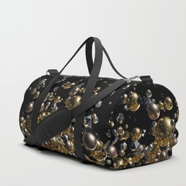 Elegant Abstract Geometry Explosion -Gold and Silver,Black- Duffle Bag
