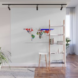 World Map with Country Flags Wall Mural