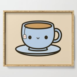 Cute cup of tea Serving Tray