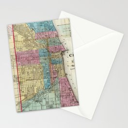 Vintage Map of Chicago (1869) Stationery Cards