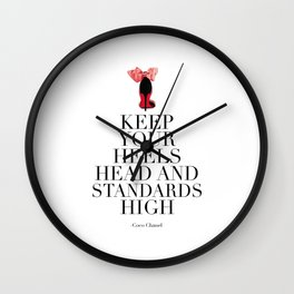 keep ypur heels head and standards high, high heels,gift for her,girls room decor,girly print,fashio Wall Clock