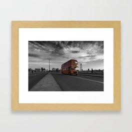 Bus 19 crosses Waterloo Bridge Framed Art Print