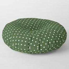 Small White Polka Dot Hearts on Dark Forest Green Floor Pillow