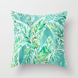 LEAFY ABUNDANCE Green Banana Leaf Print Throw Pillow
