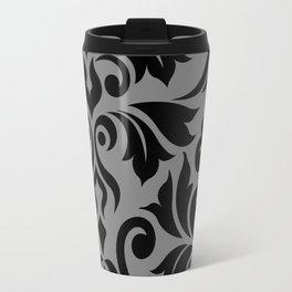 Flourish Damask Art I Black on Gray Travel Mug