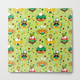 Monster Mash Green Metal Print