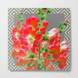 Charcoal Grey Saffrron Red Holly Hocks Pattern Flora Art Metal Print