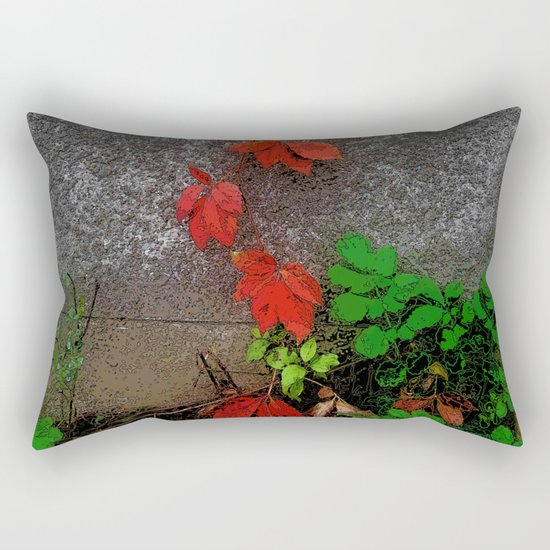 Red and green leaves on the wall Rectangular Pillow