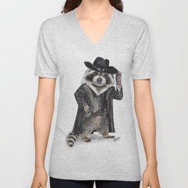 """"""" Raccoon Bandit """" funny western raccoon Unisex V-Neck"""