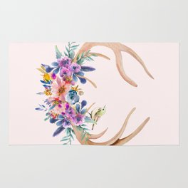 Antlers with Flowers Rug