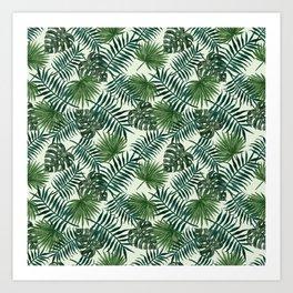 Tropical ivory green monster leaves floral Art Print