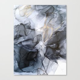 Calm but Dramatic Light Monochromatic Black & Grey Abstract Canvas Print