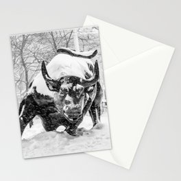 The Charging Bull, In the snow. Stationery Cards