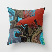 band Throw Pillows featuring Betta's Band by Distortion Art