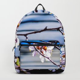 Delicate Flowers Of A Japanese Apricot Tree Against The Garden Pavilion Roof Backpack