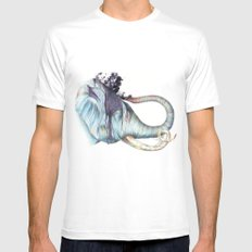 Elephant Shower White MEDIUM Mens Fitted Tee