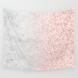 Real Marble and Rose Gold Mermaid Sparkles III Wall Tapestry