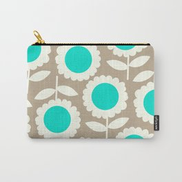 Bella Collection Beige and Turquoise Carry-All Pouch