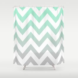 MINT GRAY CHEVRON FADE Shower Curtain