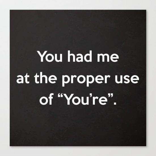 Proper Use Of You're Funny Quote Canvas Print