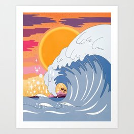 Sunset wave Art Print