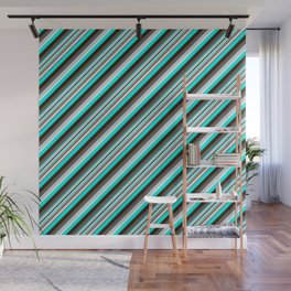 Blue Brown Black Inclined Stripes Wall Mural