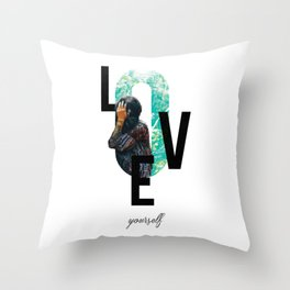 Modern Design, Love Yourself Quote, Self Care, Inspirational Quote, Double Exposure Throw Pillow