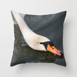 Mute Swan in Winter - Neck Skimming Throw Pillow