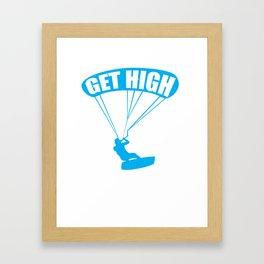 funny kite surfing get high Framed Art Print