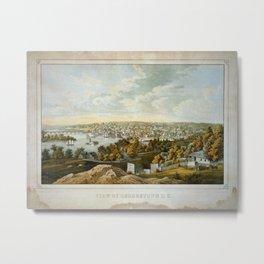 Vintage Pictorial Map of Georgetown (1855) Metal Print