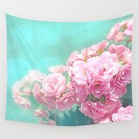 mercedes Wall Tapestries featuring Pink rose photo dreamy bokeh photo by Mercedes