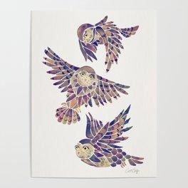 Owls in Flight – Mauve Palette Poster