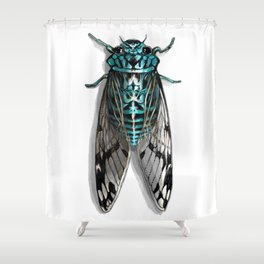 Turquoise Cicada Shower Curtain